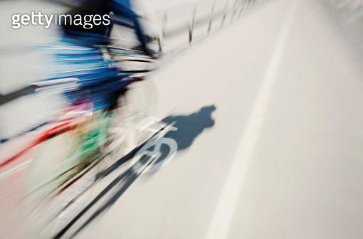 Cyclist on bike lane - gettyimageskorea