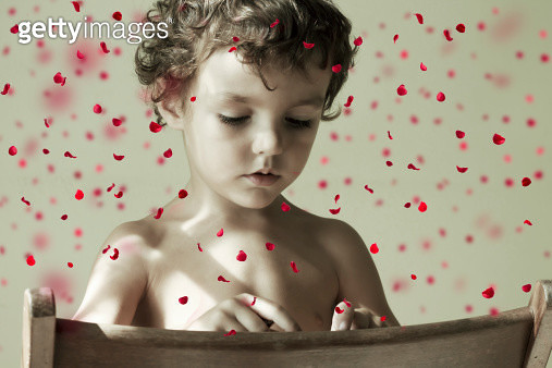 Portrait of a child with petals falling - gettyimageskorea