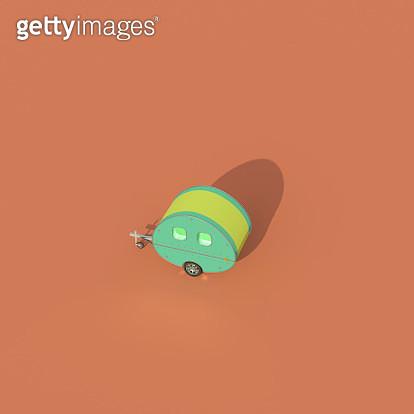 retro styled caravan on orange background - gettyimageskorea