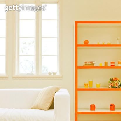 Close-up Of A Sofa And Shelf - gettyimageskorea