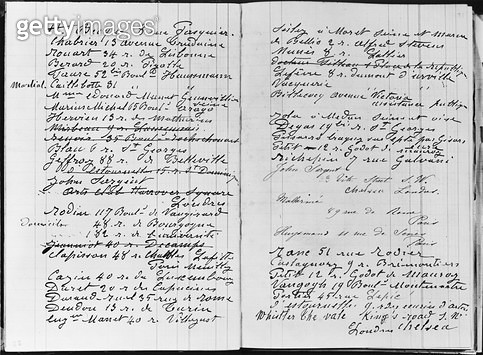 <b>Title</b> : Pages from Monet's account book detailing names and addresses (pen & ink on paper) (b/w photo)<br><b>Medium</b> : pen and ink on paper<br><b>Location</b> : Musee Marmottan, Paris, France<br> - gettyimageskorea