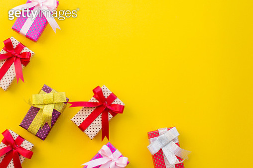High Angle View Of Christmas Decoration Against Yellow Background - gettyimageskorea