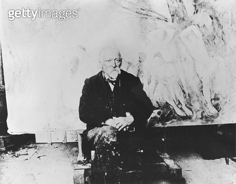 <b>Title</b> : Portrait of Paul Cezanne (1839-1906) in front of his painting 'The Large Bathers', 1904 (b/w photo)Additional Infoportrait de Ce<br><b>Medium</b> : <br><b>Location</b> : Musee Marmottan, Paris, France<br> - gettyimageskorea