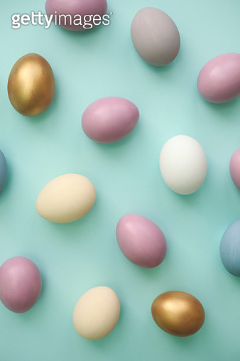 Easter eggs colorful on blue background - gettyimageskorea