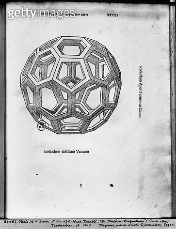 <b>Title</b> : Icosahedron, from 'De Divina Proportione' by Luca Pacioli, published 1509, Venice (engraving) (b/w photo)<br><b>Medium</b> : engraving<br><b>Location</b> : Bibliotheque Nationale, Paris, France<br> - gettyimageskorea