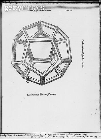 <b>Title</b> : Dodecahedron, from 'De Divina Proportione' by Luca Pacioli, published 1509, Venice (engraving) (b/w photo)<br><b>Medium</b> : engraving<br><b>Location</b> : Bibliotheque Nationale, Paris, France<br> - gettyimageskorea