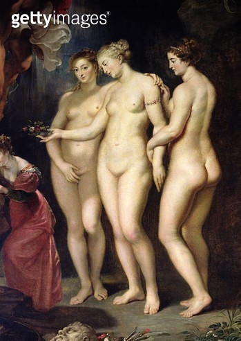 <b>Title</b> : The Medici Cycle: Education of Marie de Medici, detail of the Three Graces, 1621-25 (oil on canvas)<br><b>Medium</b> : oil on canvas<br><b>Location</b> : Louvre, Paris, France<br> - gettyimageskorea