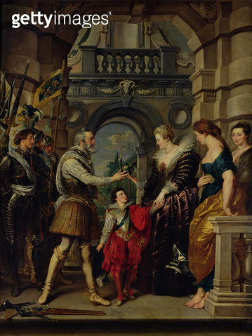 <b>Title</b> : The Medici Cycle: Henri IV (1553-1610) leaving for the war in Germany and bestowing the government of his kingdom to Marie de Medici (1573-1642) 20th March 1610, 1621-25 (oil on canvas)<br><b>Medium</b> : oil on canvas<br><b>Location</b> :  - gettyimageskorea