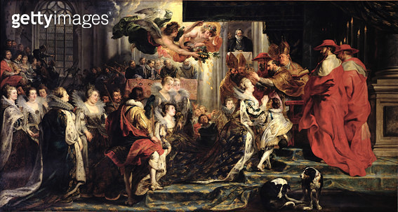 <b>Title</b> : The Coronation of Marie de Medici (1573-1642) at St. Denis, 13th May 1610, 1621-25 (oil on canvas)<br><b>Medium</b> : oil on canvas<br><b>Location</b> : Louvre, Paris, France<br> - gettyimageskorea
