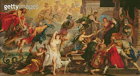 <b>Title</b> : The Apotheosis of Henri IV and the Proclamation of the Regency of Marie de Medici, 1622-25 (oil on canvas)<br><b>Medium</b> : oil on canvas<br><b>Location</b> : Louvre, Paris, France<br> - gettyimageskorea