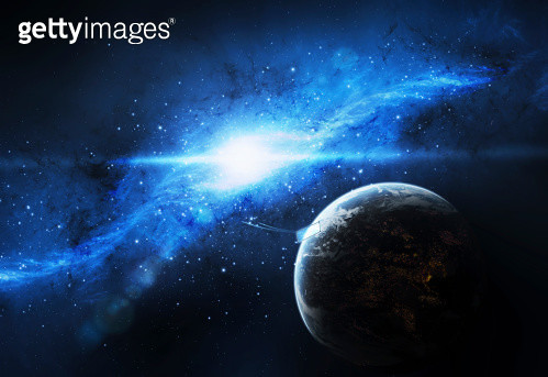 A paradise world with a huge city looks out on a beautiful nebula. - gettyimageskorea