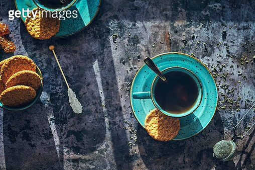 Cup of Black Tea Served with Biscuits - gettyimageskorea