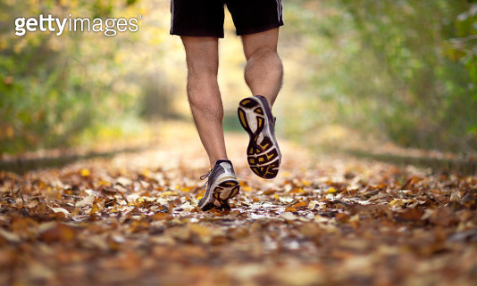 back view of man wearing sports shoes and running on Autumn leaf covered path in early morning. Rome - gettyimageskorea