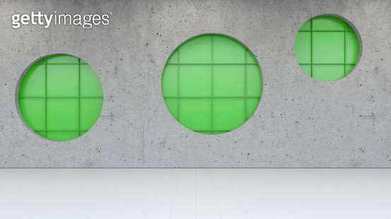 concrete wall with green metallic structure - gettyimageskorea