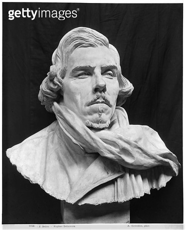 <b>Title</b> : Bust of Eugene Delacroix (1798-1863) (plaster) (b/w photo)<br><b>Medium</b> : plaster<br><b>Location</b> : Musee de la Ville de Paris, Musee du Petit-Palais, France<br> - gettyimageskorea