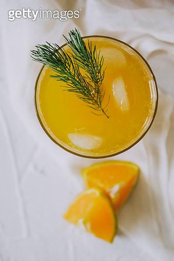 Directly above shoot of orange juice in glass - gettyimageskorea