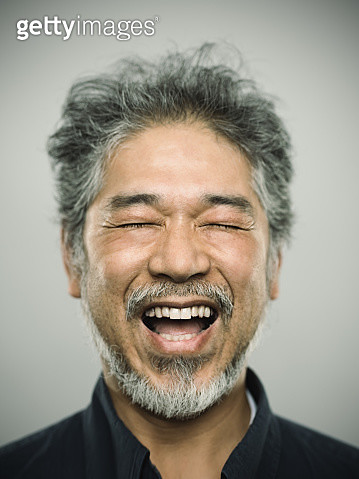 Portrait of a happy real japanese man with grey hair. - gettyimageskorea