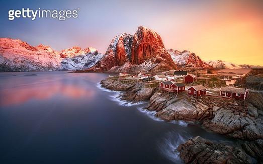 Sunrise over Hamnoy, Norway - gettyimageskorea