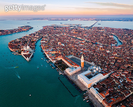 Aerial view of St Mark's square and city at sunrise, Venice, Italy - gettyimageskorea