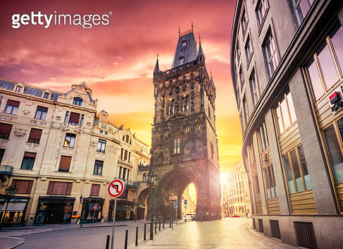 The Powder Tower in Prague at sunrise. Czech Republic - gettyimageskorea