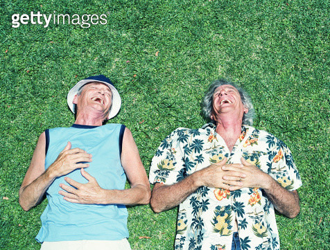 Two mature men lying on grass, laughing, overhead view - gettyimageskorea