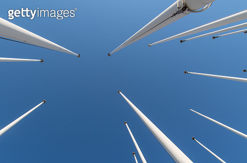 Low Angle View Of Poles Against Clear Blue Sky - gettyimageskorea