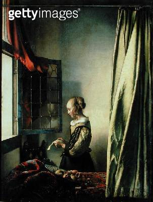 <b>Title</b> : Girl at a Window Reading a Letter (oil on canvas)Additional InfoBrieflesendes Madchen am offenen Fenster;<br><b>Medium</b> : oil on canvas<br><b>Location</b> : Gemaeldegalerie Alte Meister, Dresden, Germany<br> - gettyimageskorea