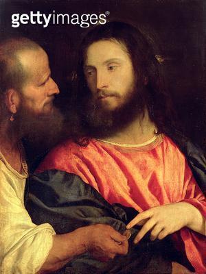 <b>Title</b> : Tribute Money, c.1516 (oil on panel)Additional Infopainted for Alfonso I d'Este of Ferrara;<br><b>Medium</b> : oil on panel<br><b>Location</b> : Gemaeldegalerie Alte Meister, Dresden, Germany<br> - gettyimageskorea