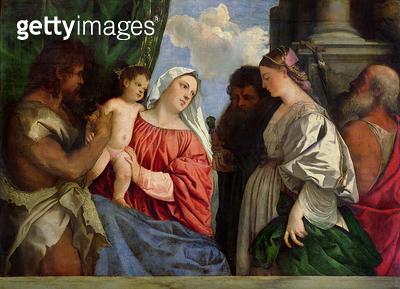 <b>Title</b> : Virgin and Child with Four Saints, c.1516 (oil on panel)Additional InfoMaria mit dem Kind und vier Heilige;<br><b>Medium</b> : oil on panel<br><b>Location</b> : Gemaeldegalerie Alte Meister, Dresden, Germany<br> - gettyimageskorea