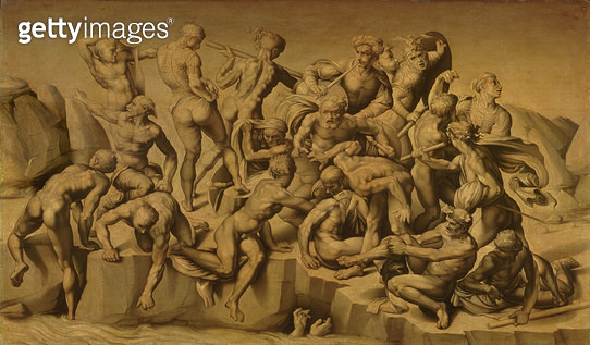 The Battle of Cascina, or The Bathers, after Michelangelo (1475-1564), 1542 (oil on panel) - gettyimageskorea