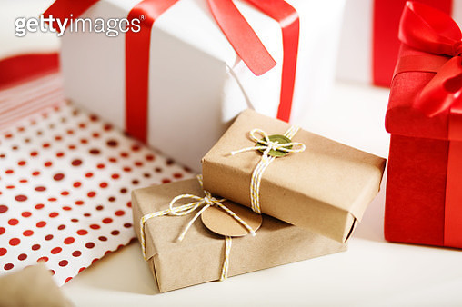 Gift boxes on table - gettyimageskorea