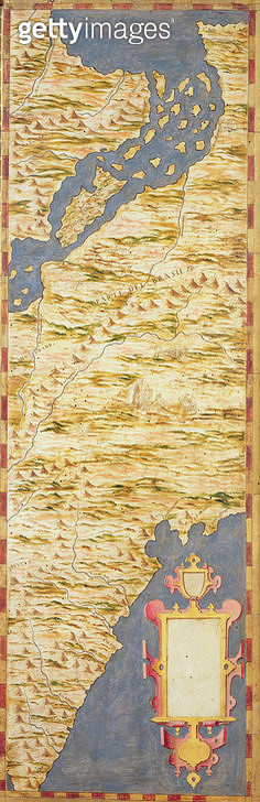 Map of Brazil, from the 'Sala delle Carte Geografiche' (Hall of Geographical Maps) c.1570 (oil on panel)<br>Palazzo Vecchio (Palazzo della Signoria) Florence, Italy - gettyimageskorea