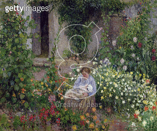 <b>Title</b> : Mother and Child in the Flowers, 1879 (oil on canvas)Additional InfoFemme et Enfant dans les Fleurs;<br><b>Medium</b> : oil on canvas<br><b>Location</b> : Private Collection<br> - gettyimageskorea