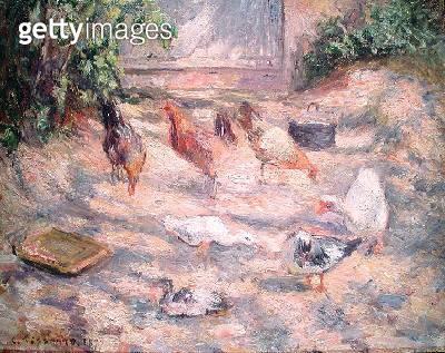 <b>Title</b> : Farmyard at Pontoise, 1877 (oil on canvas)<br><b>Medium</b> : oil on canvas<br><b>Location</b> : Private Collection<br> - gettyimageskorea
