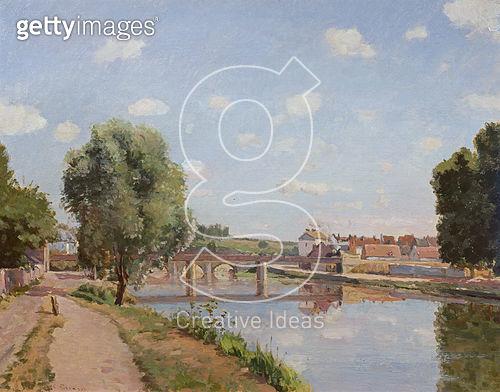 <b>Title</b> : The Railway Bridge, Pontoise, 1873 (oil on canvas)Additional InfoLe Pont de Chemin de Fer;<br><b>Medium</b> : oil on canvas<br><b>Location</b> : Private Collection<br> - gettyimageskorea