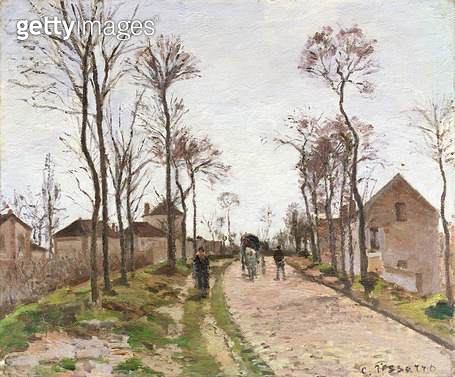 <b>Title</b> : The Road to Saint Cyr at Louveciennes, c.1870 (oil on canvas)<br><b>Medium</b> : oil on canvas<br><b>Location</b> : Private Collection<br> - gettyimageskorea