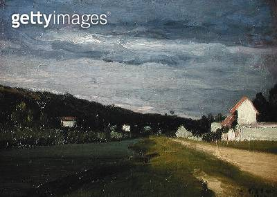 <b>Title</b> : Landscape with Stormy Sky, 1864 (oil on canvas)<br><b>Medium</b> : oil on canvas<br><b>Location</b> : Private Collection<br> - gettyimageskorea