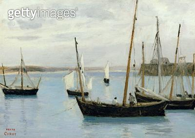 <b>Title</b> : Granville, Fishing Boats, c.1860 (oil on canvas)<br><b>Medium</b> : oil on canvas<br><b>Location</b> : Private Collection<br> - gettyimageskorea