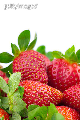 Close-Up Of Strawberries On White Background - gettyimageskorea