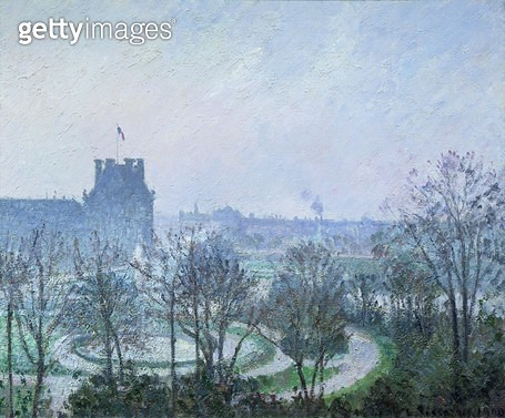 <b>Title</b> : White Frost, Jardin des Tuileries, 1900 (oil on canvas)<br><b>Medium</b> : oil on canvas<br><b>Location</b> : Private Collection<br> - gettyimageskorea