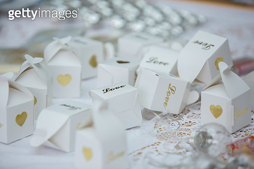 Boxes of confetti at wedding - gettyimageskorea