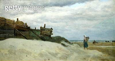 <b>Title</b> : The Beach at Dunkirk, 1857 (oil on canvas)<br><b>Medium</b> : oil on canvas<br><b>Location</b> : Private Collection<br> - gettyimageskorea