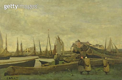<b>Title</b> : Treport - A Quay, c.1855-65 (oil on panel)Additional InfoLe Treport - Un Quai;<br><b>Medium</b> : oil on panel<br><b>Location</b> : Private Collection<br> - gettyimageskorea