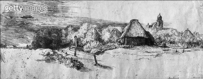 <b>Title</b> : Large Landscape with a Tower, c.1650 (etching) (b/w photo)<br><b>Medium</b> : etching<br><b>Location</b> : Musee de la Ville de Paris, Musee du Petit-Palais, France<br> - gettyimageskorea