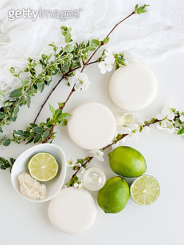 Aromatic still life with soaps, blossom and lime - gettyimageskorea