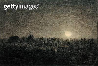 <b>Title</b> : The Shepherd at the Fold by Moonlight (charcoal on paper)<br><b>Medium</b> : charcoal on paper<br><b>Location</b> : Walters Art Museum, Baltimore, USA<br> - gettyimageskorea