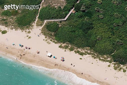 미국, 플로리다, 공중촬영, 해변, 파라솔 - gettyimageskorea