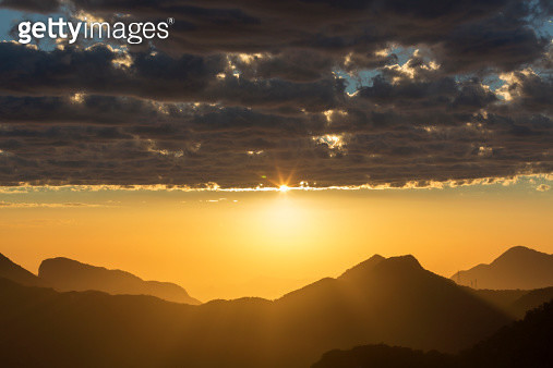 Sunset over Corcovado mountain - gettyimageskorea