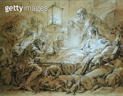 <b>Title</b> : The Nativity (pen and ink wash heightened with white on paper)<br><b>Medium</b> : pen and ink wash heightened with white on paper<br><b>Location</b> : Private Collection<br> - gettyimageskorea