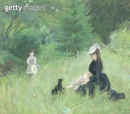 <b>Title</b> : In a Park, c.1874 (pastel on paper)<br><b>Medium</b> : pastel on paper<br><b>Location</b> : Musee de la Ville de Paris, Musee du Petit-Palais, France<br> - gettyimageskorea